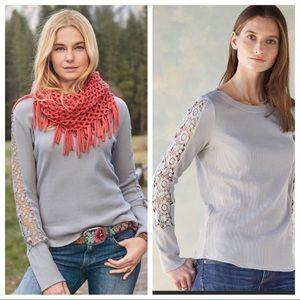 Sundance Gray Thermal Waffle Knit Crochet Sleeves